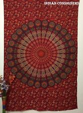 Bohomian Mandala Omber Design Twin Size Cotton Tapestry Bed Cover Living Room