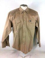 Wrangler Heavy Cotton Canvas Mens Tan Large Long Sleeve Pearl Snap Shirt