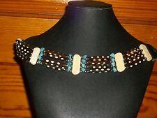 """BEAUTIFUL Native American Style Bone Choker necklace 4 strand bead jewelry 11"""""""