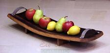 WINE BARREL FRUIT PLATTER WITH METAL HANDLES