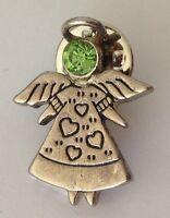 Green Gem Angel Lapel Pin Badge Religion Christian Vintage (L39)