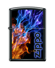 Zippo 4809, Logo With Blue & Red Fire, Black Matte Finish Lighter, Full Size