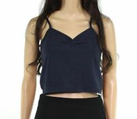 Double Zero Womens Tops Blue Size Large L Cropped V-Neck Gathered Knit- 462