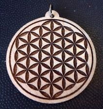 """wood pendant 1.75"""" Necklace Usa #Spiritualist Flower Of Life Laser carved Maple"""