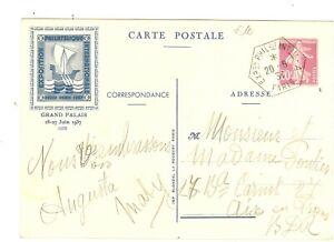ENTIER CARTE POSTALE EXPO PEXIP PARIS 1937 BLEU