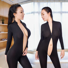 Women Striped Sheer Bodysuit Zipper Long Sleeve Open Crotch Jumpsuit Romper