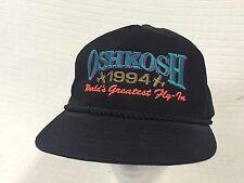 EUC Vtg OSHGOSH Black 1994 Worlds Greatest Fly In Trucker Hat Cap Flat bill Snap