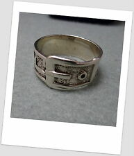 Vintage Modernist Chunky Solid Sterling Silver Dress  Buckle Ring