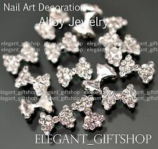 #EA103 3D Nail Art Tips Decoration (9 x 6)mm Glitter Bow Knot Crystal Rhinestone