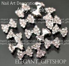 #EA103 3D Nail Art Tips Decoration (9 x 6)mm Glitter Bow Knot Crystal Rhinestone