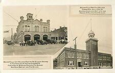 Fire Dept, Men & Equipment Outside City Bldg, Beaver Falls PA RPPC 1928