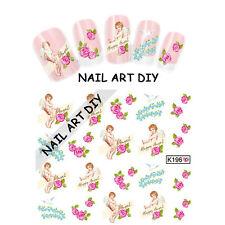 20 Stickers-Decals Nail Art water transfer-Adesivi Unghie-ANGELI con Fiori !!!