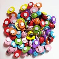 100 x Mixed Mini Ladybird Wooden Ladybugs Micro Landscape Decor Craft PRO UK