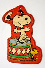 Snoopy Woodstock Dancing on Drum Wood Toy 1965 United Feature Syndicate Vintage