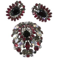 Schreiner Cranberry Red Gray Iridescent Rhinestone Brooch Earrings Set Vintage