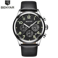 BENYAR Luxury Men's Date Pilot Quartz Wrist Watch Military Leather Band Gifts