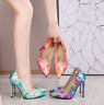 Ladies Printed High Heels Pointed Toe Fashion Pumps Stilettos Sandal Party Shoes