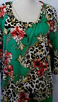 Women's Size 3X Top 3/4 Sleeve Sharkbite Green Floral Attached Necklace NWT