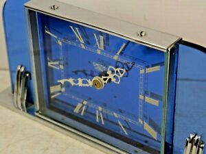 STUNNING ART DECO BLUE MIRROR GLASS SMITHS CLOCK - VERY RARE - L@@K