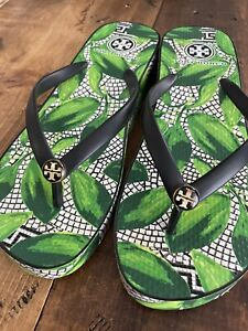 Tory Burch Green Leaf Rubber Wedge Size 9.5