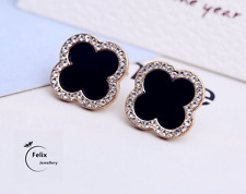 Black Clover Gold Plated Crystal Sapphire Earrings Stud Womens Valentine's Gifts