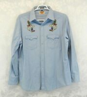Authentic Western Youngbloods Denim Shirt Size XL Pearl Snaps Embroidered Boots