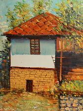 Vintage impressionist oil painting lanscape house