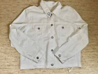 Women's American Eagle Outfitters AEO Destroyed Denim Jacket Large White - New