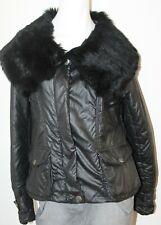 D & G Dolce Gabbana Real Fur Collar Womens Jacket Womens Zipper Black Nylon