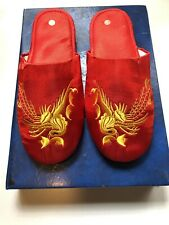 Womens 7.5 Red Chinese Chinatown Red Flats Slippers Embroidered Floral Birds