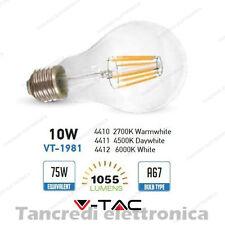 Lampadina led V-TAC 10W = 75W E27 VT-1981 A67 filamento lampada globo bulb sfera