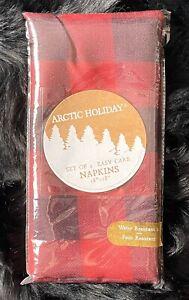 New Arctic Holiday Set Of 4 Easy Care Napkins Black Red Buffalo Plaid 18 X 18