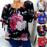 Women Plus Size Short Sleeve Print Off Shoulder Blouse Pullover Tops Shirt S-5XL