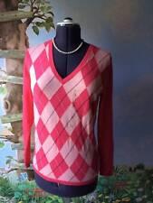 Tommy Hilfiger  Sweater Pink Argyle V-neck Sweater Top Blouse Size Large New