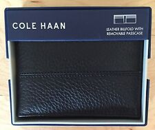 Nwt Men's Cole Haan Black Pebble Leather Bifold Wallet, MSRP $98.00