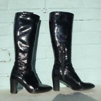 HOBBS Patent Leather Boots Size Uk 3 Eur 36 Womens Sexy Pull on Black Boots