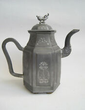 Antique Chinese Teapot Carved Pewter