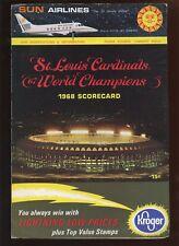 1968 MLB Scorecard Atlanta Braves at St. Louis Cardinals EX