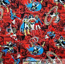 BonEful Fabric FQ Cotton Quilt Super Hero Super*Girl Batgirl Wonder Woman Comic