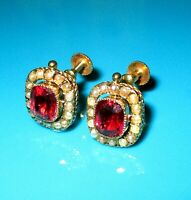 ANTIQUE 9ct GOLD COMPOSITE RED DOUBLETS & SEED PEARLS  EARRINGS( NON PIERCED )