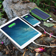 100000mAh Green Solar Power Bank Dual USB LED Battery Charger For Mobile Phones