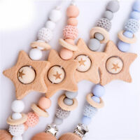 Star Beech Wood Paicifer Chain Clip Baby Silicone Beads Dummy Nipples Holder Toy