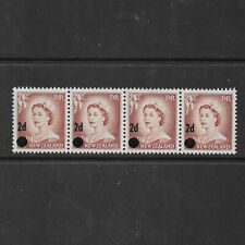 NEW ZEALAND 1958 SG763 QEII 2d on 1 1/2d brown-lake Surch Strip of 4 MINT MNH/MH