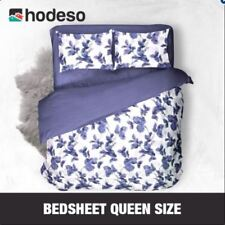 Hodeso Bedsheet Floral Design Queen Size With FREE Two Pillow Cases (Violet)