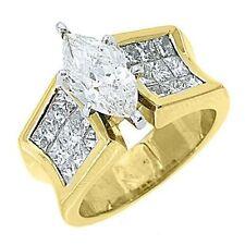 18k Yellow Gold Not Enhanced Marquise Diamond Engagement Rings