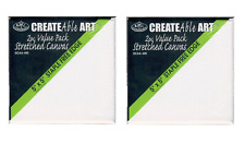 "4 Mini Artist Blank Stretched Canvas Square Box 5"" x 5"" 127mm Painting Dcaa450"