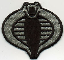 "GI Joe Cobra Commander Small 3"" Silver & Black Embroided Patch w/HOOK backing"