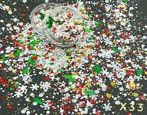 X33. Christmas MIX STAR Snowman Xmas Tree Holographic Nail Art Glitter Sequins