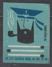 POLAND 1962 Matchbox Label - Cat.Z#565 C  Sailor with a pipe, three matches.