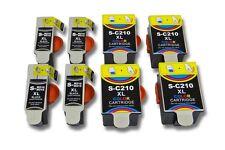 8x Cartouche + Chip noir couleur pour Samsung CJX-1000 / CJX-1050 / CJX-1050W